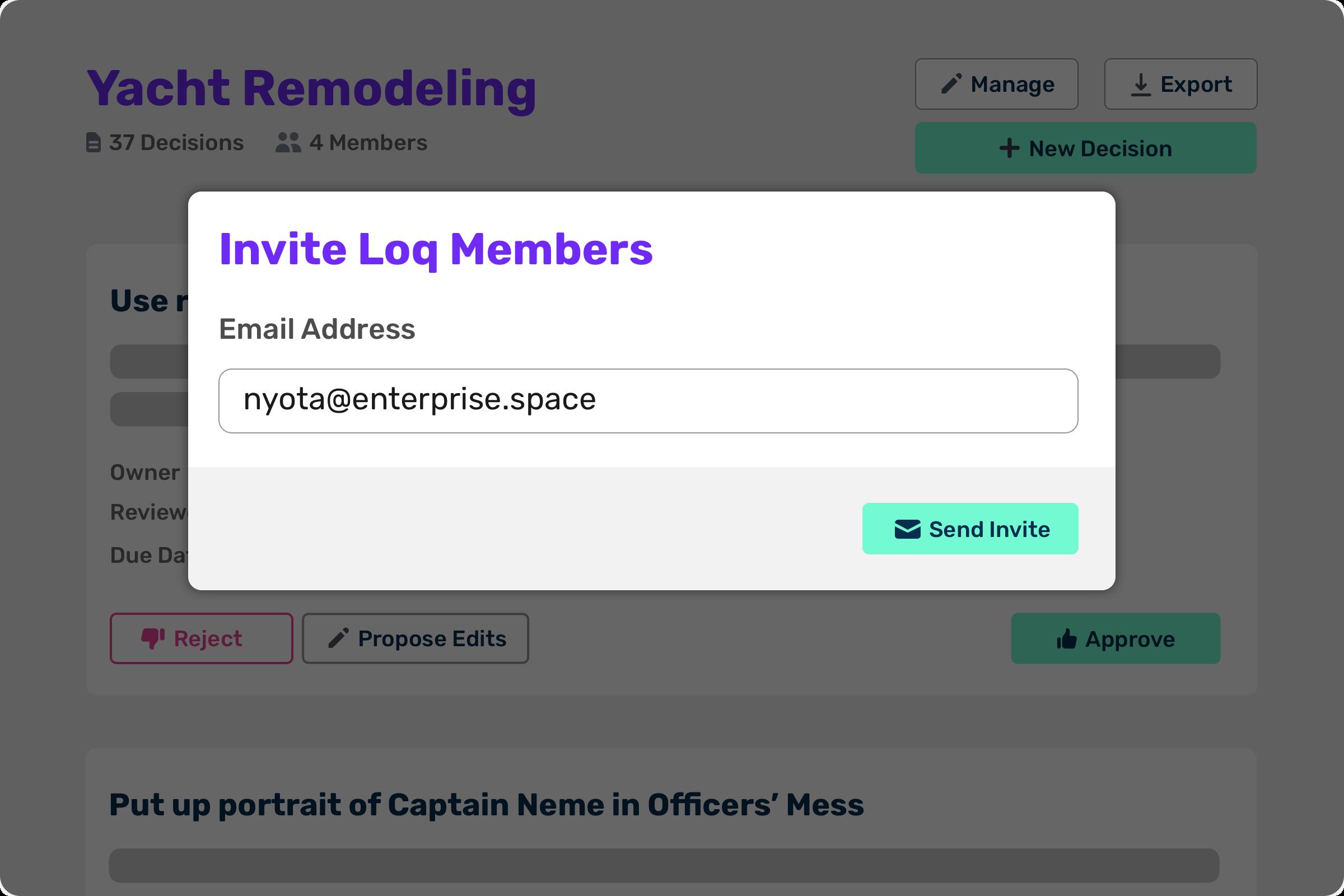Screenshot the invite modal in Loqbooq web app