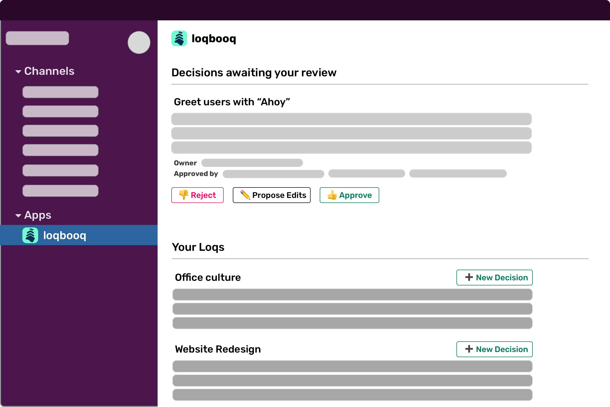 Screenshot of Loqbooq App Home view in Slack
