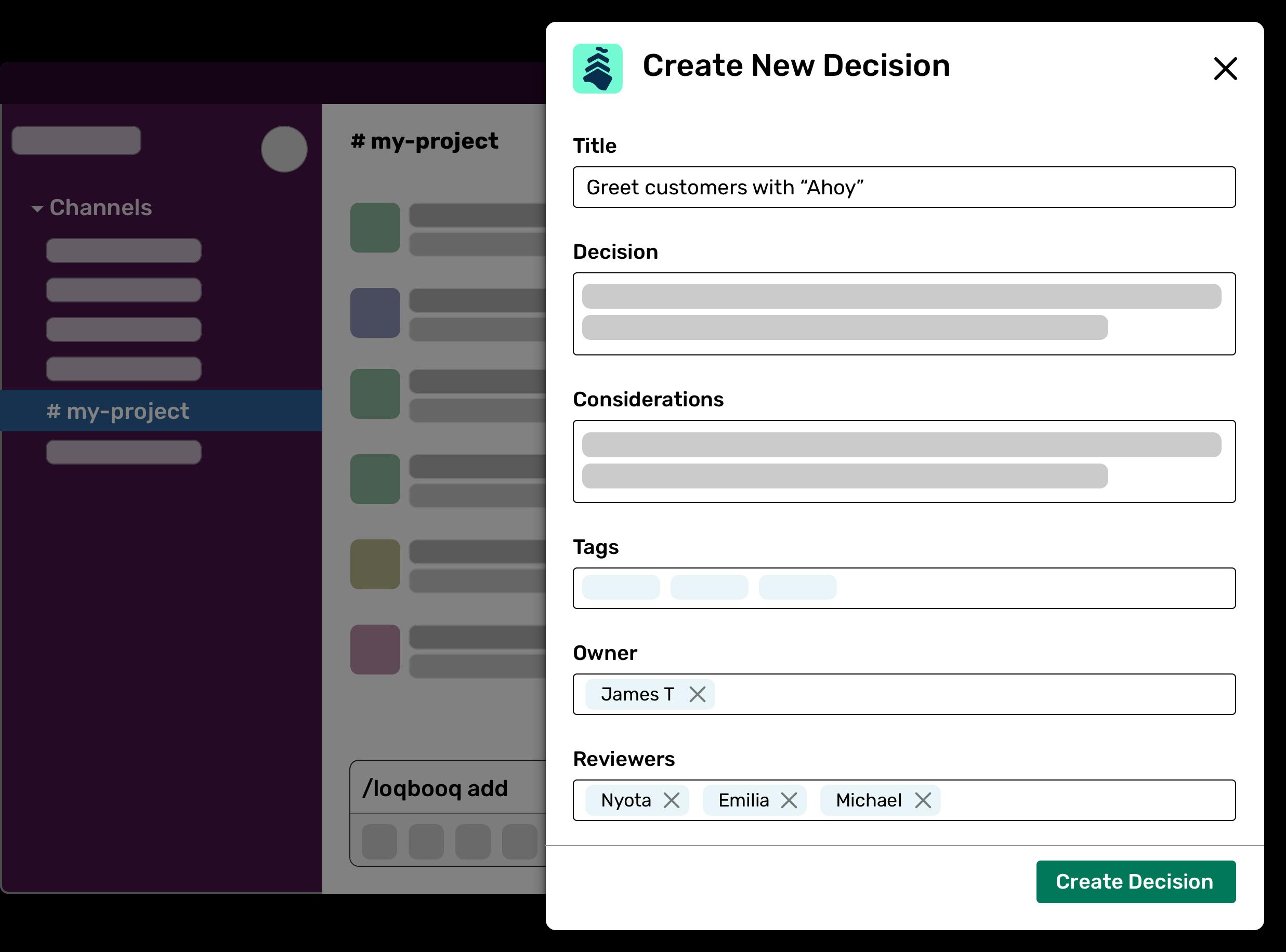 Screenshot of new decision modal in Slack
